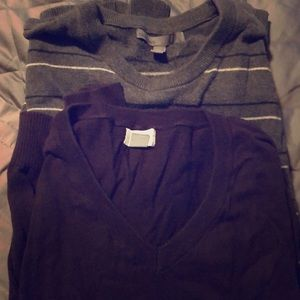 Cotton Men's Old Navy Striped Crew & Deep Purple V